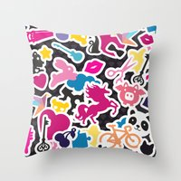 sticker Throw Pillows featuring Sticker Frenzy by XOOXOO
