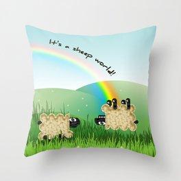 it's a sheep world! Throw Pillow