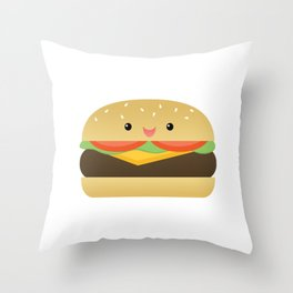 Happy Cheeseburger Throw Pillow