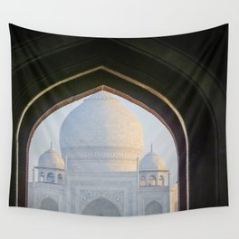 First View of Taj Mahal through the Morning Mist Wall Tapestry