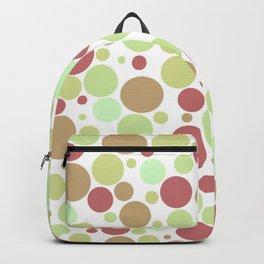 Retro Polka Dot Spot Print - Green / Brick Red / White - 60s / 70s / Groovy Backpack