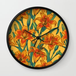 Tawny daylily flowers, blue and yellow Wall Clock