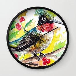 Christmas hummingbird 2 Wall Clock