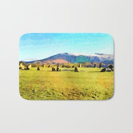 Castlerigg Stone Circle, Keswick, Cumbria, England. Watercolor Painting Bath Mat