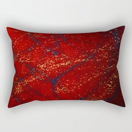 Red, Blue and Gold Spatter Rectangular Pillow