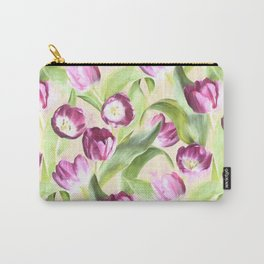 Deep Magenta Tulips on Creamy Peach Carry-All Pouch