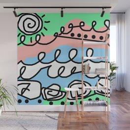 Crashing Wave - Black White Green Blue Wall Mural