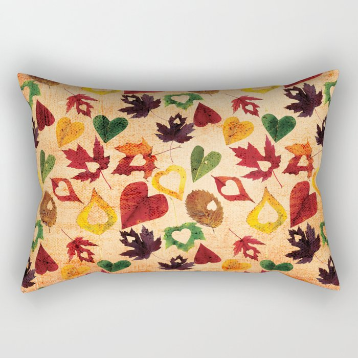 Happy autumn- hearts and leaves pattern Rectangular Pillow