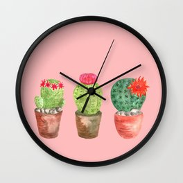 Three Cacti watercolor pink Wall Clock