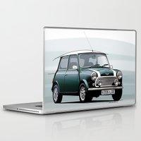 mini cooper Laptop & iPad Skins featuring Classic Mini Cooper by TCORNELIUS