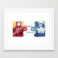 garrus Framed Art Prints featuring Mass Effect : Shep & Garrus by Wei723