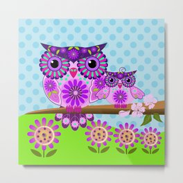Spring owl mom and her baby Metal Print