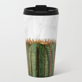 Cactus Ball on White Marble and Zigzag Wall Travel Mug