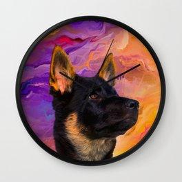 German Shepherd Puppy Wall Clock