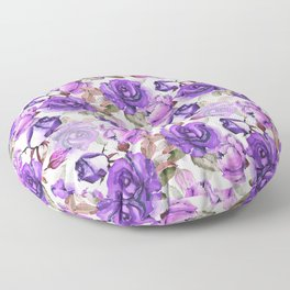 Violet lilac pink watercolor botanical roses floral Floor Pillow