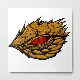 Golden dragon eye design  Metal Print