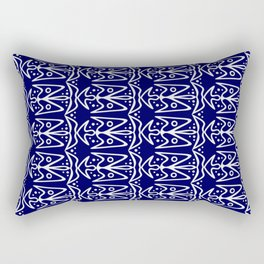 Bluebirds in Flight Bright White Wings on Midnight Blue Stylized Abstract Spirit Organic Rectangular Pillow