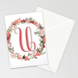 Personal monogram letter 'U' flower wreath Stationery Cards