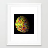 planet Framed Art Prints featuring Colorful Moon by 2sweet4words Designs