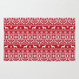 Husky fair isle red and white minimal christmas dog pattern gifts huskies Rug