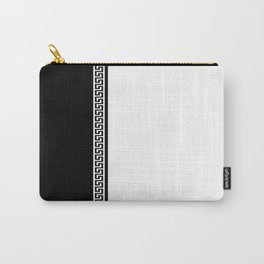Greek Key 2 - White and Black Carry-All Pouch
