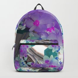 Lilac Blue Flower Curves - Abstract Floral Art by Fluid Nature Backpack