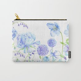 Watercolor Blue Garden Illustration Carry-All Pouch