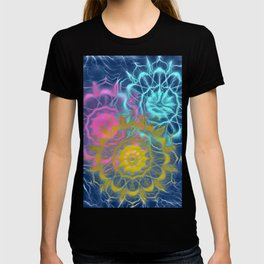Psychedelic Electric Mandala in Teal Pink and Gold T-shirt