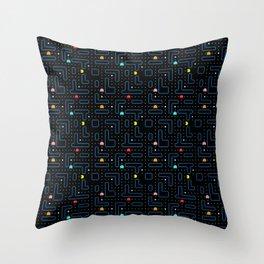 Pac-Man Retro Arcade Video Game Pattern Design Throw Pillow