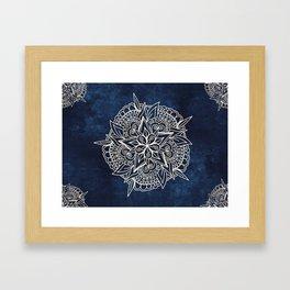 Cream and navy mandala on indigo ink Framed Art Print