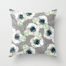 Soothing Rose Garden Gray + White Navy Throw Pillow