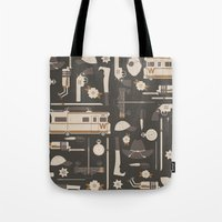 walking dead Tote Bags featuring The Walking Dead by Tracie Andrews