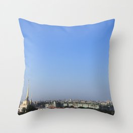 Clear sky cityscape. Admiralty building and winter palace. Throw Pillow
