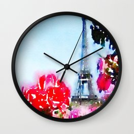 Magenta Blooms in Paris Wall Clock