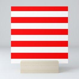 Stripe Red and White Lines Mini Art Print