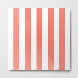 Salmon pink -  solid color - white vertical lines pattern Metal Print