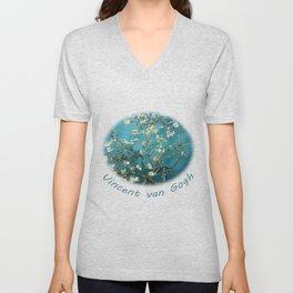 Blossoming Almond Trees, Vincent van Gogh. Famous vintage fine art. Unisex V-Neck