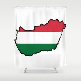 Hungary Map with Hungarian Flag Shower Curtain