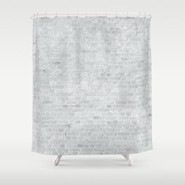 White Washed Brick Wall Stone Cladding Shower Curtain