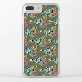 Birds and Branches (Dark) Clear iPhone Case