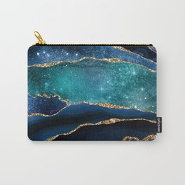 Blue Night Galaxy Marble Carry-All Pouch