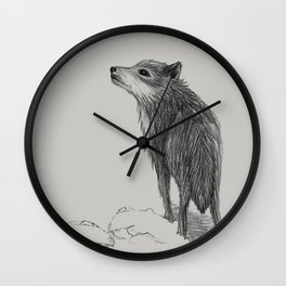 wolf black and white Wall Clock