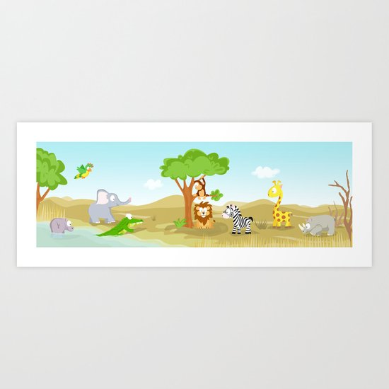 Africa panorama picture world animals serie Art Print