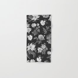 Vintage flowers on black Hand & Bath Towel