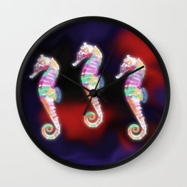Opalescent Seahorse Wall Clock
