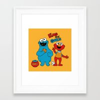 elmo Framed Art Prints featuring Elmo & Cookie Fan Art by gabriela
