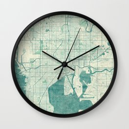 Tampa Map Blue Vintage Wall Clock