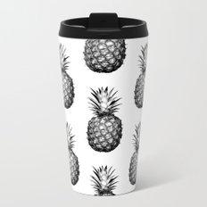 Black & White Pineapple Metal Travel Mug