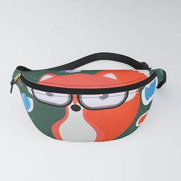 Fox with glasses and flowers Fanny Pack