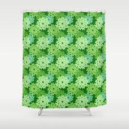 Modern Floral Kimono Print, Lime Green Shower Curtain
